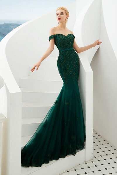 Elegant Off-the-shoulder Tulle Mermaid Prom Dress_3