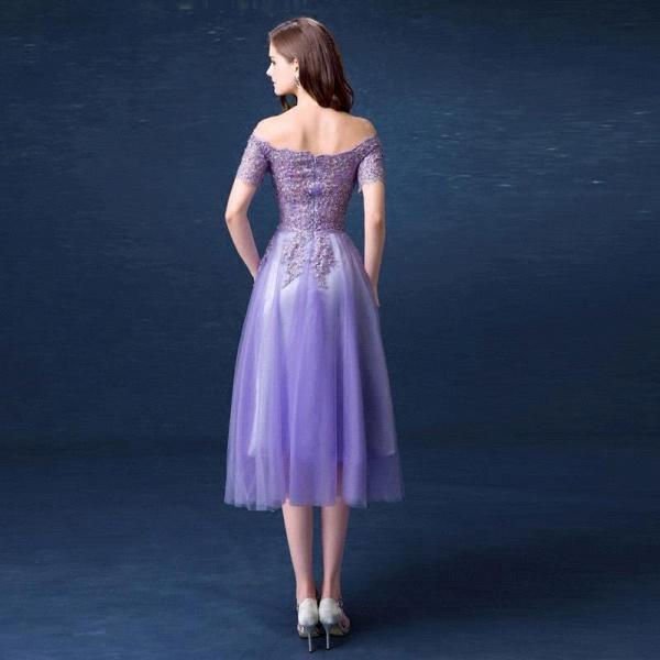 A-line Bateau Tulle Appliques Prom Dress_3