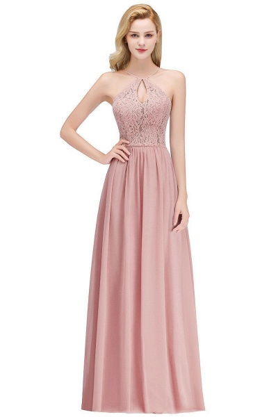 Keyhole Neckline Lace A-line Long Spaghetti Bridesmaid Dress_1
