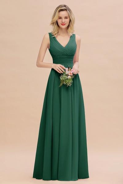 BM0752 Elegant A-line V-Neck Ruffles Long Bridesmaid Dress_31