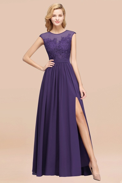 A-line Chiffon Lace Jewel Sleeveless Floor-Length Bridesmaid Dresses with Appliques_19