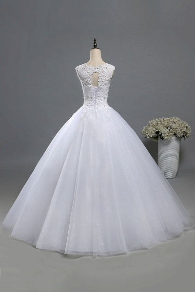 Lace-up Appliques Tulle A-line Wedding Dress_3