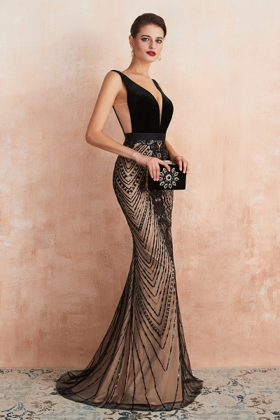 Exquisite V-neck Lace Mermaid Prom Dress_5