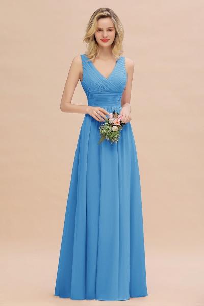 BM0752 Elegant A-line V-Neck Ruffles Long Bridesmaid Dress_25