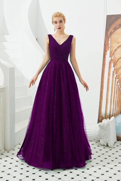Awesome V-neck Tulle A-line Prom Dress_2