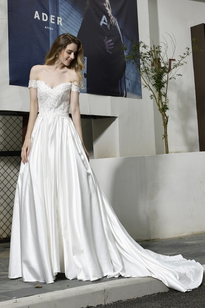 A Line Off the Shoulder Sweetheart Lace Satin Wedding Dress_13