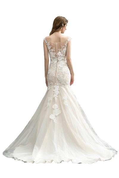 Mermaid Floor Length Lace Tulle Wedding Dresses_9