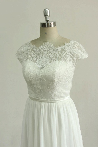 Cap Sleeve Lace Chiffon A-line Wedding Dress_4