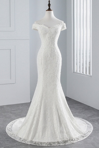 Off Shoulder Lace-up Mermaid Lace Wedding Dress_4