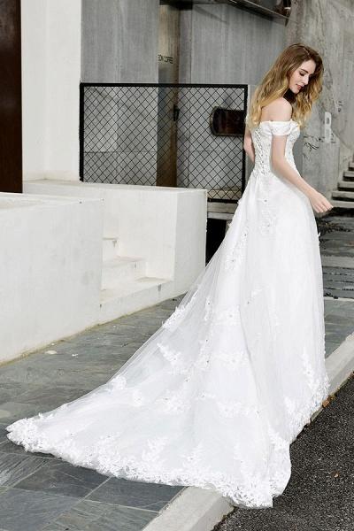 Gorgeous A-Line Lace Off Shoulder Wedding Dress_9