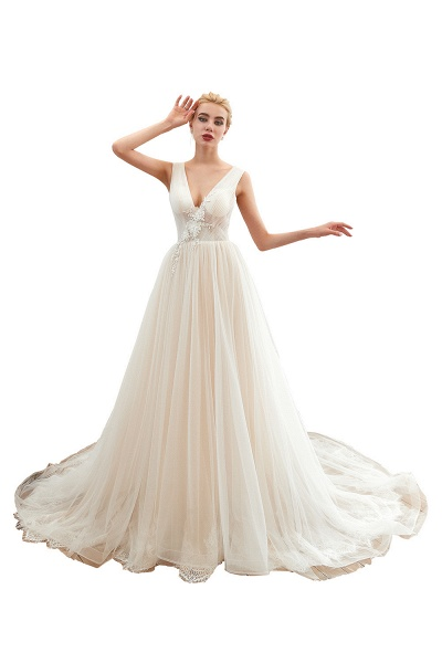 Chic Lace-up Appliques Tulle A-line Wedding Dress_1