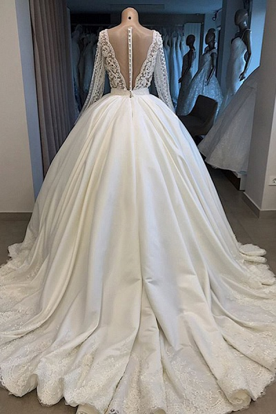Long Sleeve V-neck Ball Gown Satin Wedding Dress_3