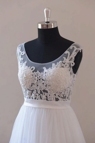 Amazing Appliques Tulle A-line Wedding Dress_4