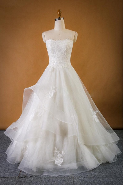 Strapless Lace-up Tulle A-line Wedding Dress_1