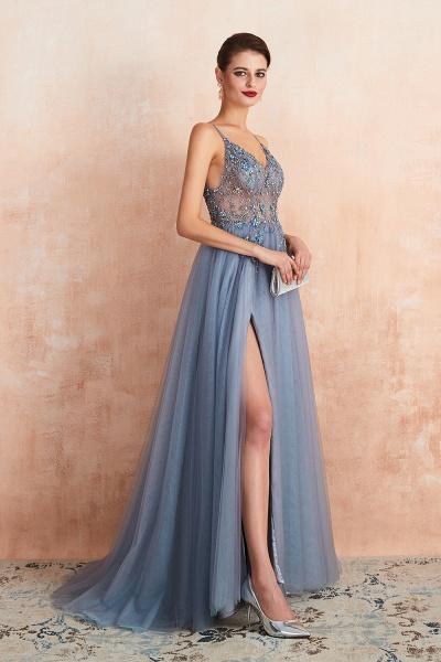 Best V-neck Tulle A-line Prom Dress_19