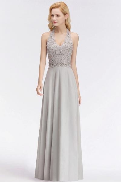 Halter Composite Emulation Silk A-line Floor Length Bridesmaid Dress_10