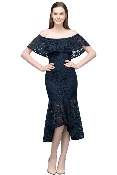 Affordable Off-the-shoulder Lace Mermaid Evening Dress_1