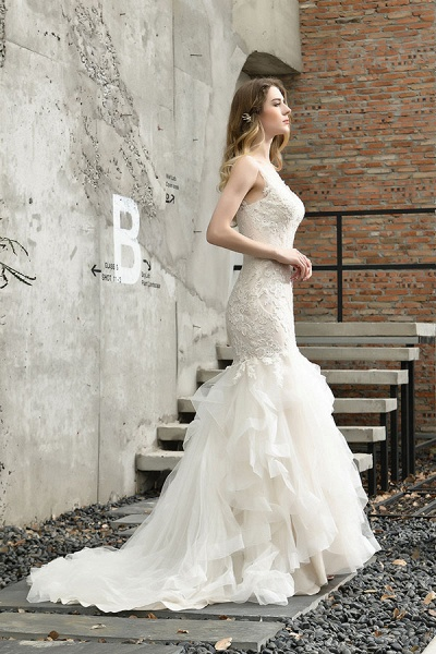 Gorgeous Appliques Mermaid Organza Wedding Dress_5