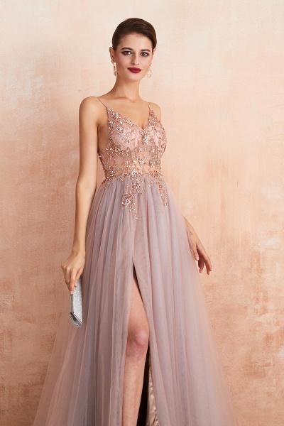 Best V-neck Tulle A-line Prom Dress_15