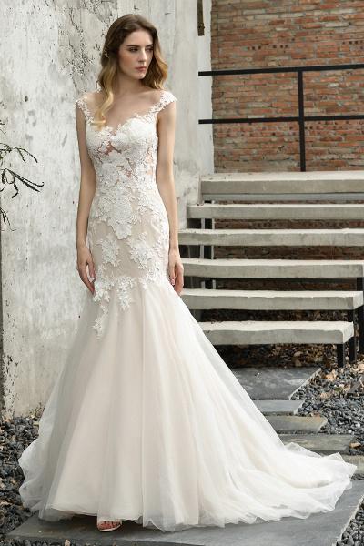 Mermaid Floor Length Lace Tulle Wedding Dresses_2