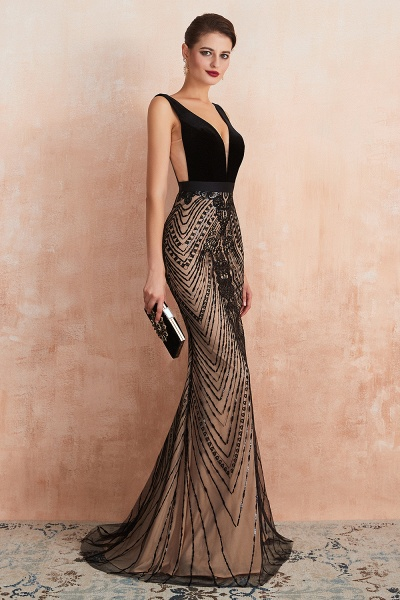Exquisite V-neck Lace Mermaid Prom Dress_9