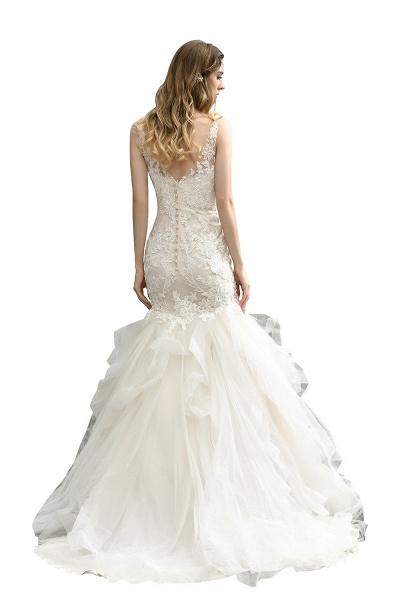Mermiad Sweetheart Floral Lace Floor Length Wedding Dress_4
