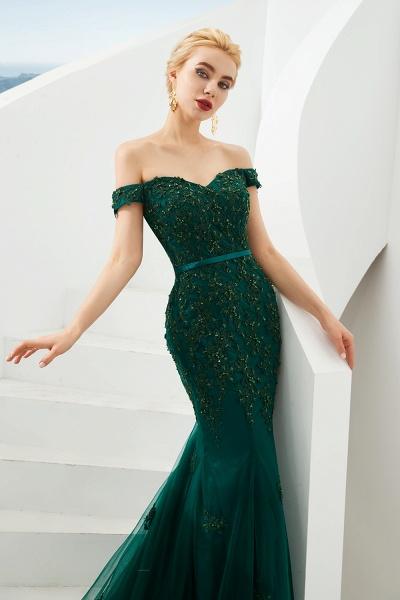 Elegant Off-the-shoulder Tulle Mermaid Prom Dress_5