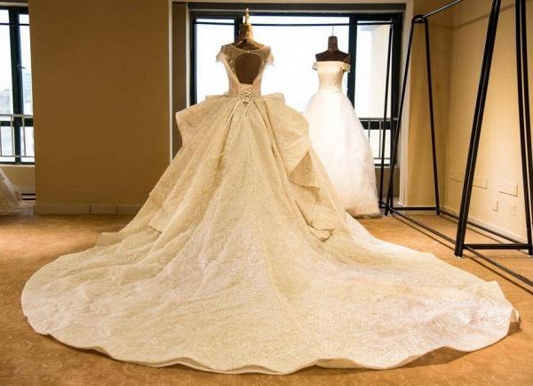 Cap Sleeve Appliques Tulle A-line Wedding Dress_2