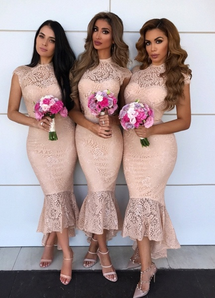 Awesome Lace High-low Mermaid Bridesmaid Dress_1