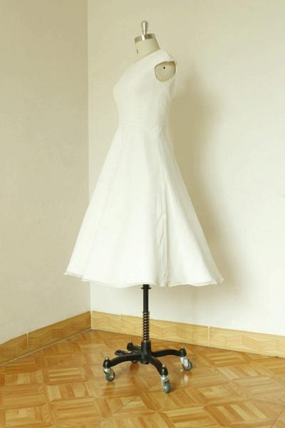 Cap Sleeve Chiffon Mini A-line Wedding Dress_4