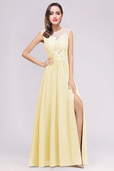 Lace Chiffon Floor-Length A-line Bridesmaid Dress_7