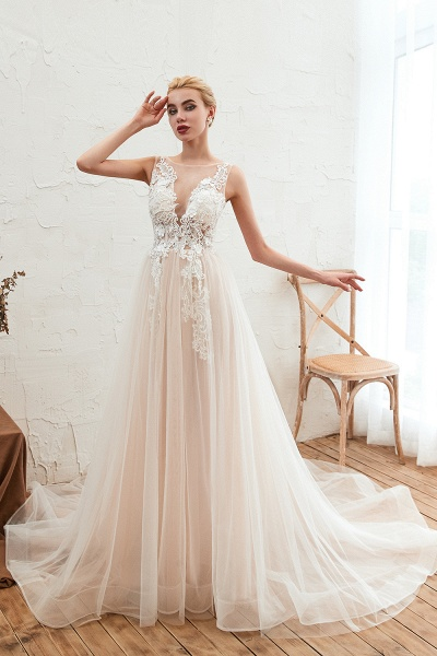 Eye-catching Appliques Tulle A-line Wedding Dress_2