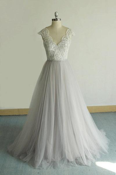 V-neck Cap Sleeve Lace Tulle Wedding Dress_1