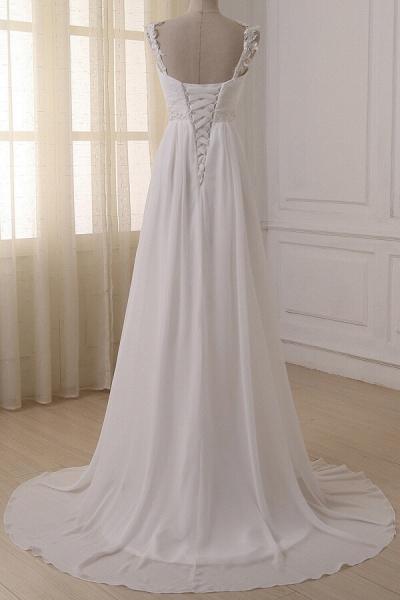 Ruffle V-neck Empire Chiffon A-line Wedding Dress_3