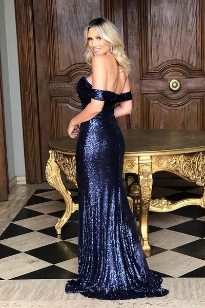Off the Shoulder Front Slit Mermaid Sequined Prom Dresses | Sparkly Long Evening Dresses_4