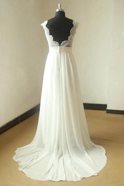 V-neck Lace Chiffon Floor Length Wedding Dress_3