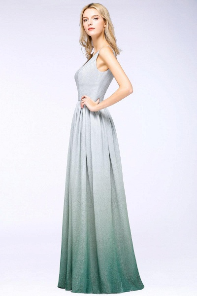 A-line Ruffles V-Neck Long Evening Dress_3