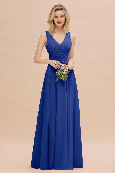 BM0752 Elegant A-line V-Neck Ruffles Long Bridesmaid Dress_26