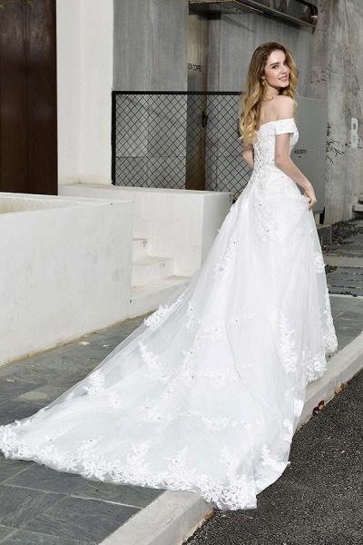 Gorgeous A-Line Lace Off Shoulder Wedding Dress_3