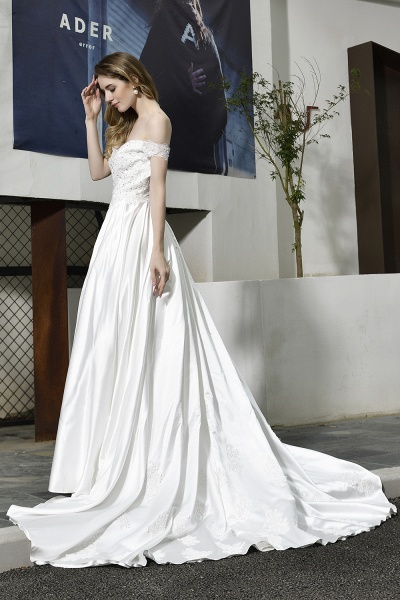 A Line Off the Shoulder Sweetheart Lace Satin Wedding Dress_9
