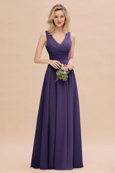 BM0752 Elegant A-line V-Neck Ruffles Long Bridesmaid Dress_19
