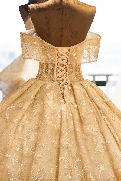 Amazing Strapless Lace-up Satin Wedding Dress_7