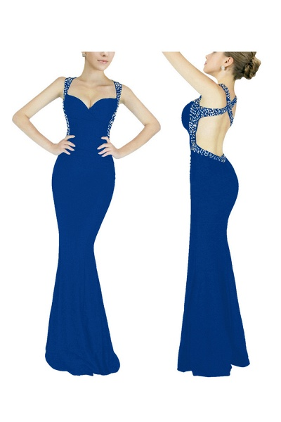 Graceful Straps Spandex Mermaid Evening Dress_2