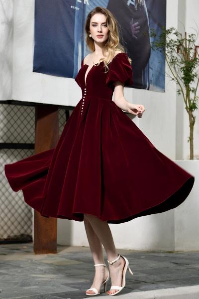 Burgundy Velvet Bubble Sleeve V-neck Short Prom Dress_6
