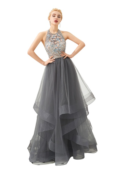 Chic Halter Tulle A-line Prom Dress_8