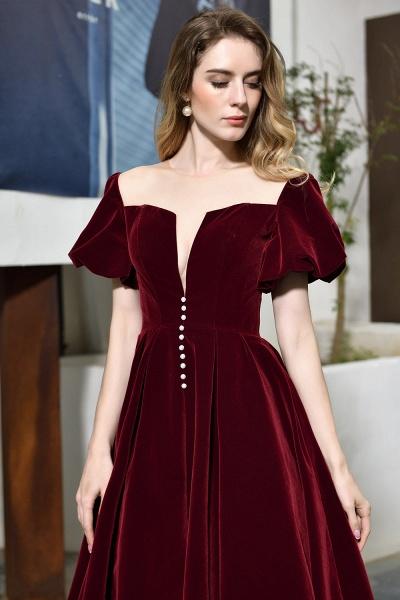 Burgundy Velvet Bubble Sleeve V-neck Short Prom Dress_9