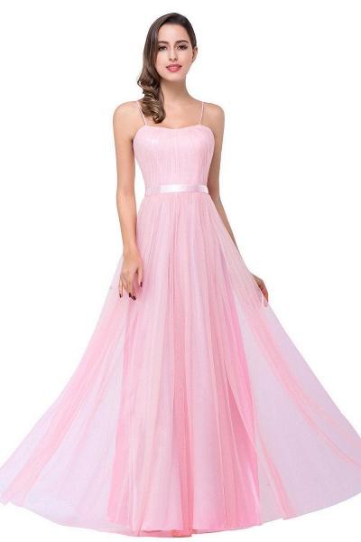 ELLIS | A-line Sweetheart Floor-length Pink Tulle Ruffles Bridesmaid Dresses_1