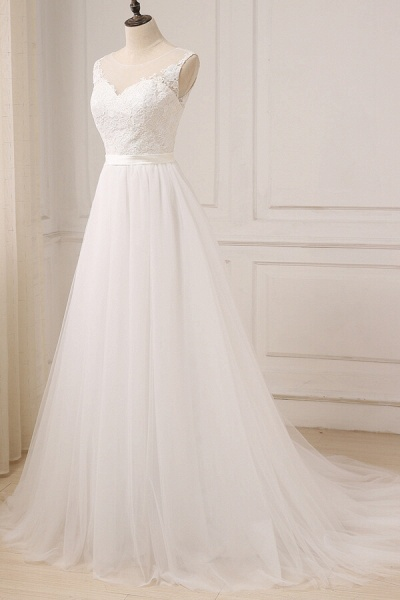 Graceful Lace Tulle A-line Wedding Dress_4