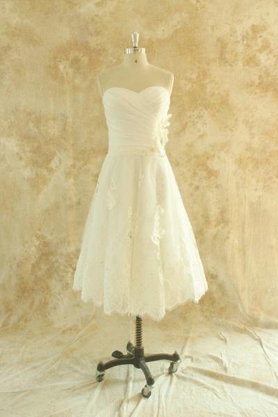 Strapless Lace Chiffon A-line Mini Wedding Dress_1