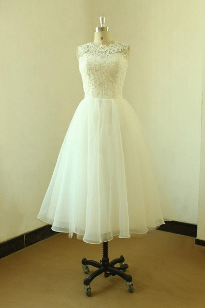 Elegent Lace Tulle A-line Mini Wedding Dress_1